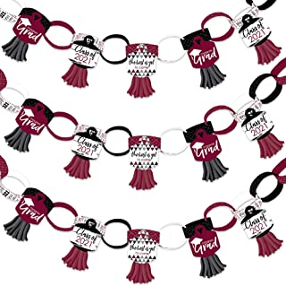 product image for Big Dot of Happiness Maroon Grad - Best is Yet to Come - 90 Chain Links and 30 Paper Tassels Decoration Kit - 2021 Burgundy Graduation Party Paper Chains Garland - 21 feet