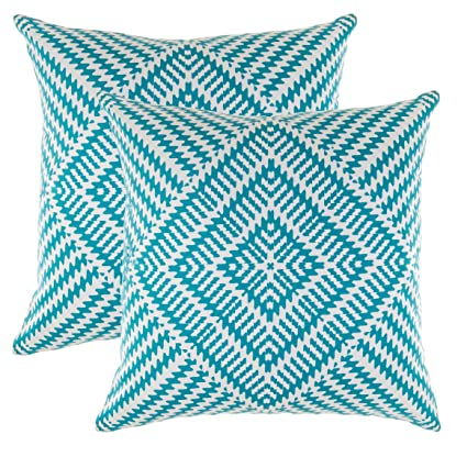 TreeWool Decorative Square Throw Pillowcases Set Kaleidoscope Accent 100% Cotton Cushion Cases Pillow Covers (24 x 24 Inches / 60 x 60 cm; Turquoise & ...