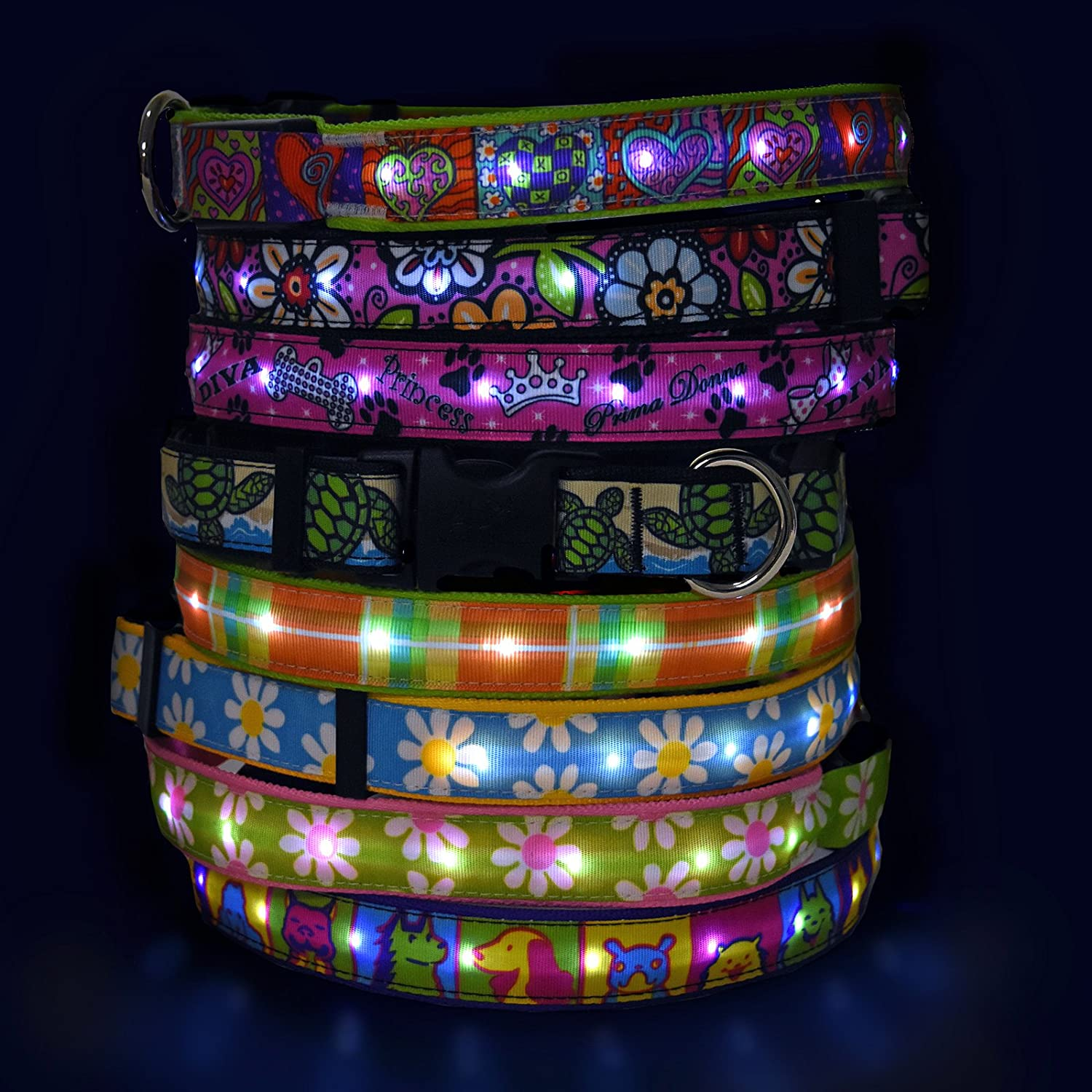 Large 19-25 inch Hot Dog Safety Collar Large-Americana US Made LED Light Up Collar with Rechargeable Battery