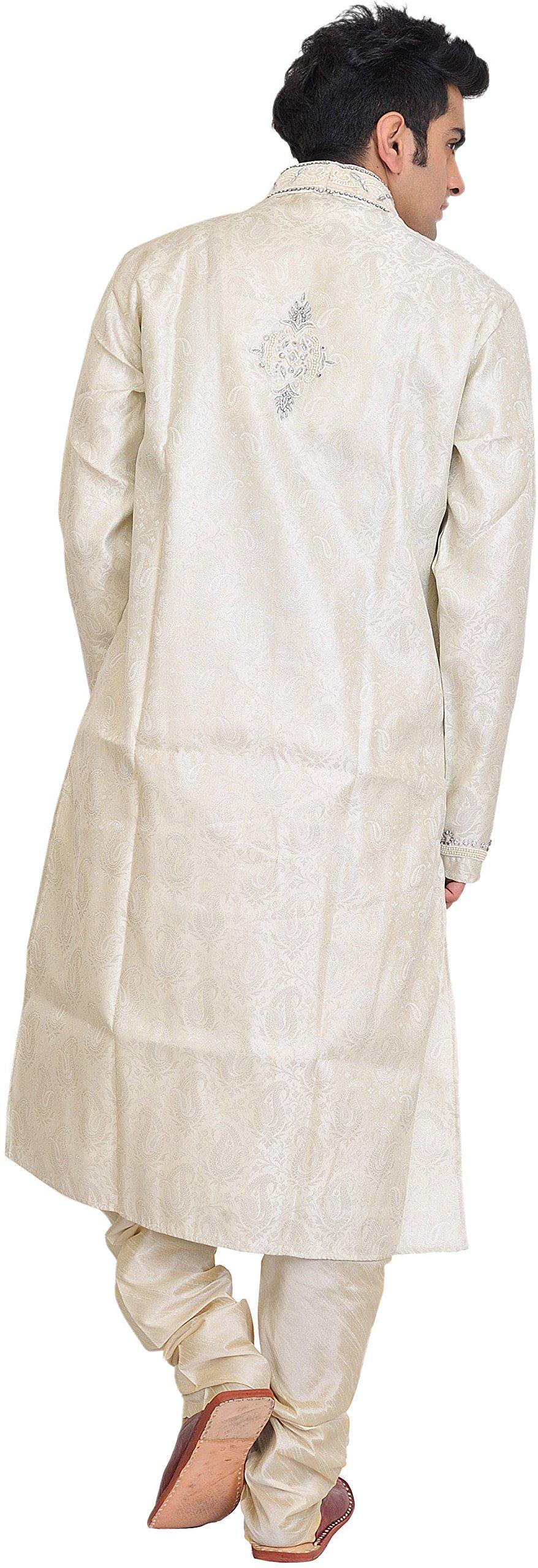 Exotic India Cloud-Cream Wedding Kurta Paja - Off-White Size 38 by Exotic India (Image #2)