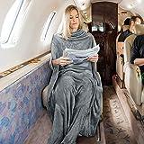 Tirrinia Fleece Wearable Travel Blanket with Foot Pockets for Women & Men | Zippered Front Pocket | Super Soft Lightweight &