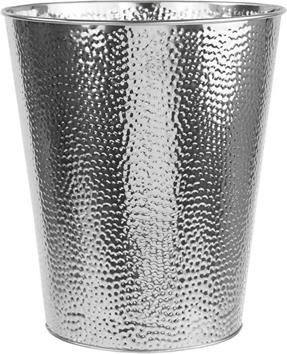 Home Basics Hammered Stainless Steel Bathroom Garbage Wastebasket bin 5 Liter 1.32 Gallon, Chrome Finish