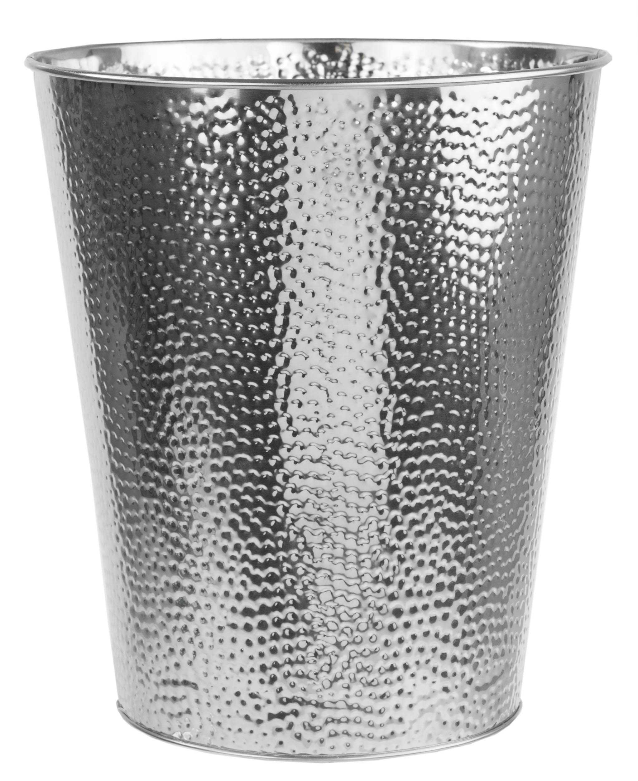 Home Basics Hammered Stainless Steel Bathroom Garbage Wastebasket bin 5 Liter 1.32 Gallon, Chrome Finish by Home Basics