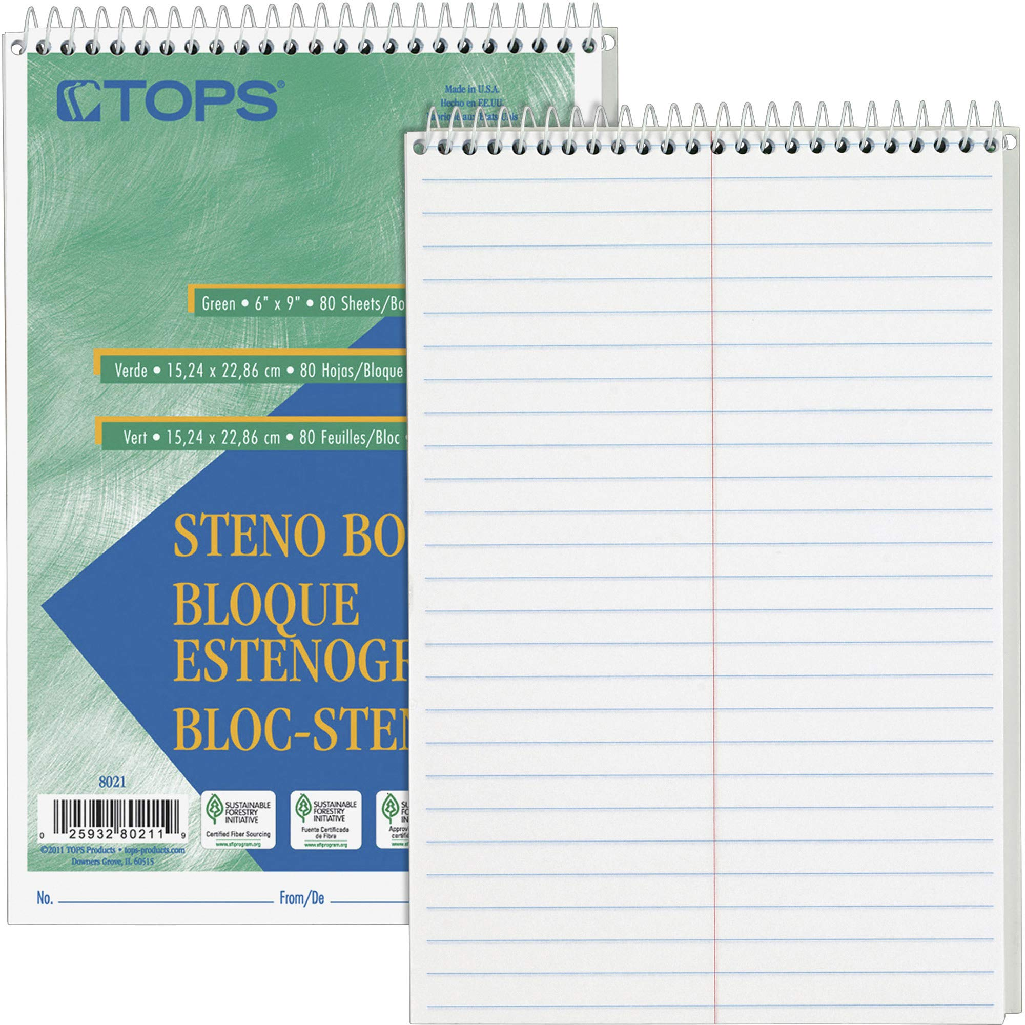 TOPS Products Steno Book, Gregg Rule, 80 Sheets/PD, 6''x9'', 12/Pack, White (TOP8020) by TOPS Products