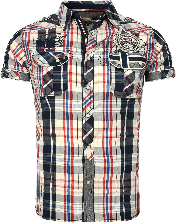 Geographical Norway Hombres Camisa de leñador Zootopia Cuadros con Bordado y Parches Navy M: Amazon.es: Ropa y accesorios