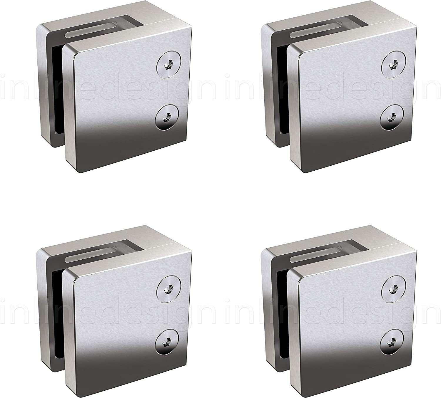 """4 x Large 2.17"""" Square Glass Clamp for Flat Surface (Stainless Steel 316) by Inline Design"""