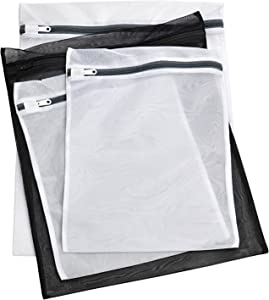 Laundry Lingerie Bags - 4 Pack - Multi-Size Washing Bags with Zipper for Lingerie, Underwear, Bra, Stockings or Baby Items. Protect Your Delicates from Getting Entwined with The Rest of Your Laundry.