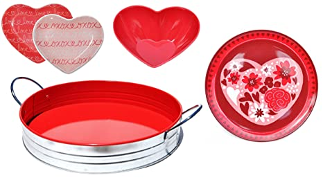 5 PIECE SET Valentine Day Gift Set Melamine Heart Shaped Serving Bowl Big Small Serving Plates  sc 1 st  Amazon.com & Amazon.com | 5 PIECE SET Valentine Day Gift Set Melamine Heart ...