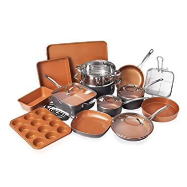 Gotham Steel 1922 Gatham Steel Kitchen Cookware + Bakeware Set, 20 Piece, Brown