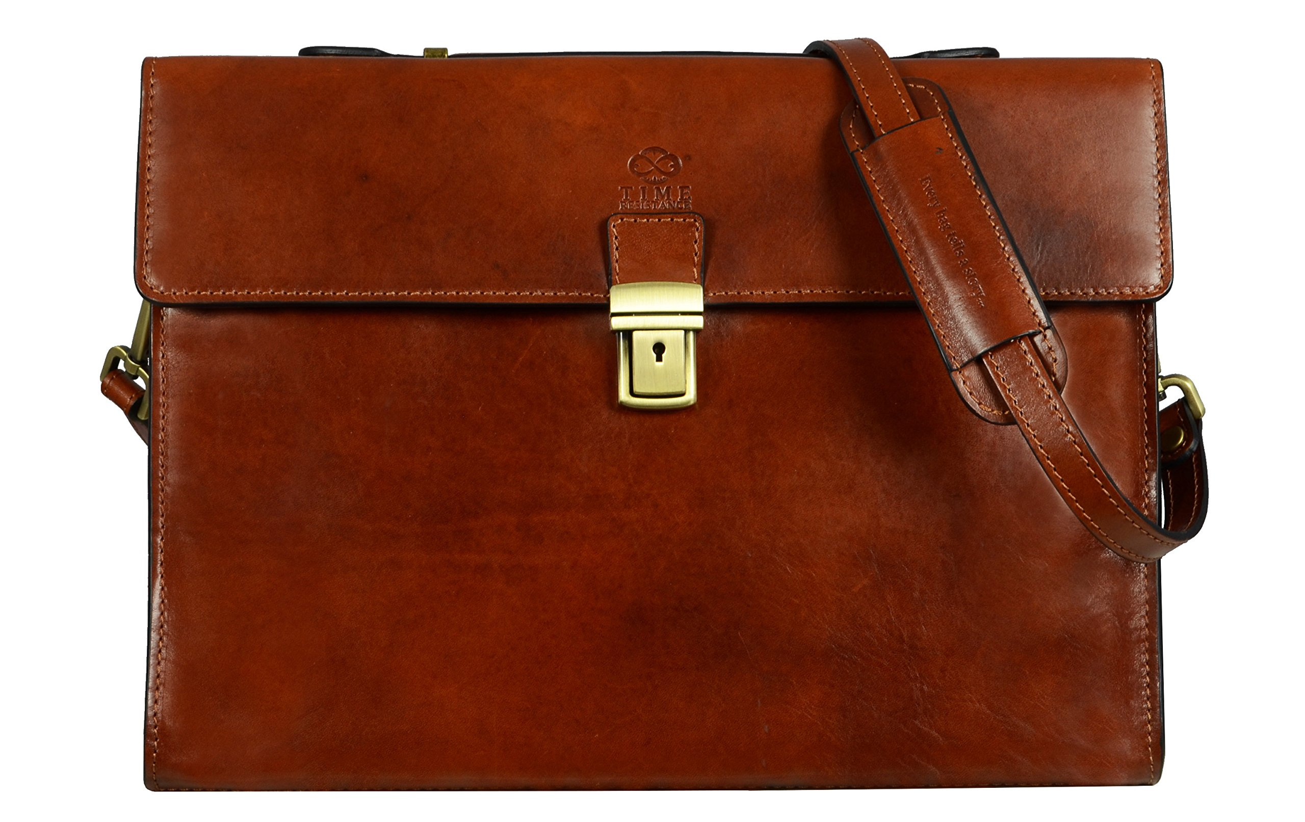 Leather Briefcase, Handmade, Attache, Messenger Bag, Unisex, Medium, Best Amber Color - Time Resistance