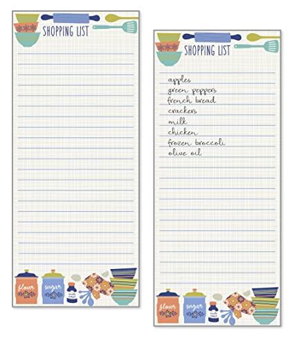 Review Set of 2- Kitchen Design List Pad, Notepad, Shopping List with Attachable Magnet