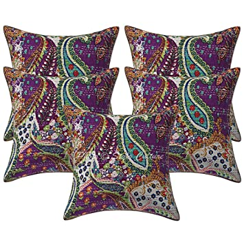 Amazon.com: Algodón impreso Kantha color morado 16 x 16 ...
