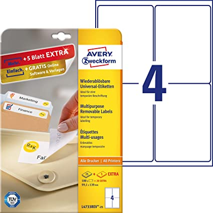 Avery Removable Labels 99,1 x 139mm (25) - Etiquetas de impresora (99, 1 x 139mm)