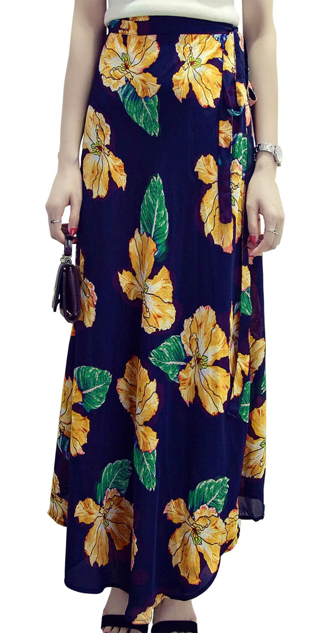 FEOYA Women's Boho Skirt Long Slit Tie Waist Girls Wrap Skirt Tea Length Festival Casual Free Size