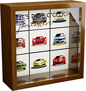 Car Decor Gifts | 6x6x2 Memorabilia Wooden Shadow Box | Glass Fronted Keepsake Perfect for Car Enthusiast | Unique Garage Decorations for Men & Boys | Unique Decorative Gift for Home or Office