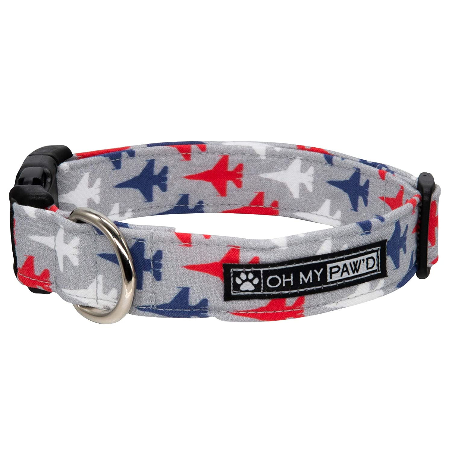 Fighter Jet Collar for Pets Size Large 1 Inch Wide and 17-25 Inches Long - Hand Made Dog Collar by Oh My Paw'd