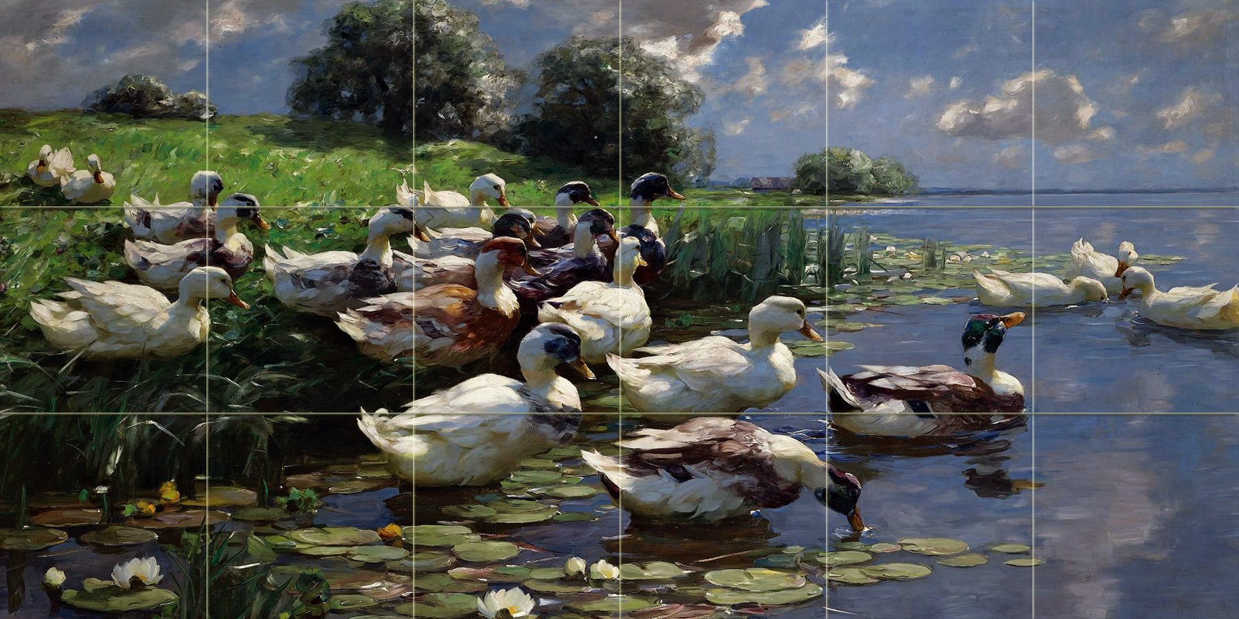 DUCKS ON A LAKE SHORE by Alexander Koester lake river birds landscape Tile Mural Kitchen Bathroom Wall Backsplash Behind Stove Range Sink Splashback 6x3 4.25'' Ceramic, Matte by FlekmanArt