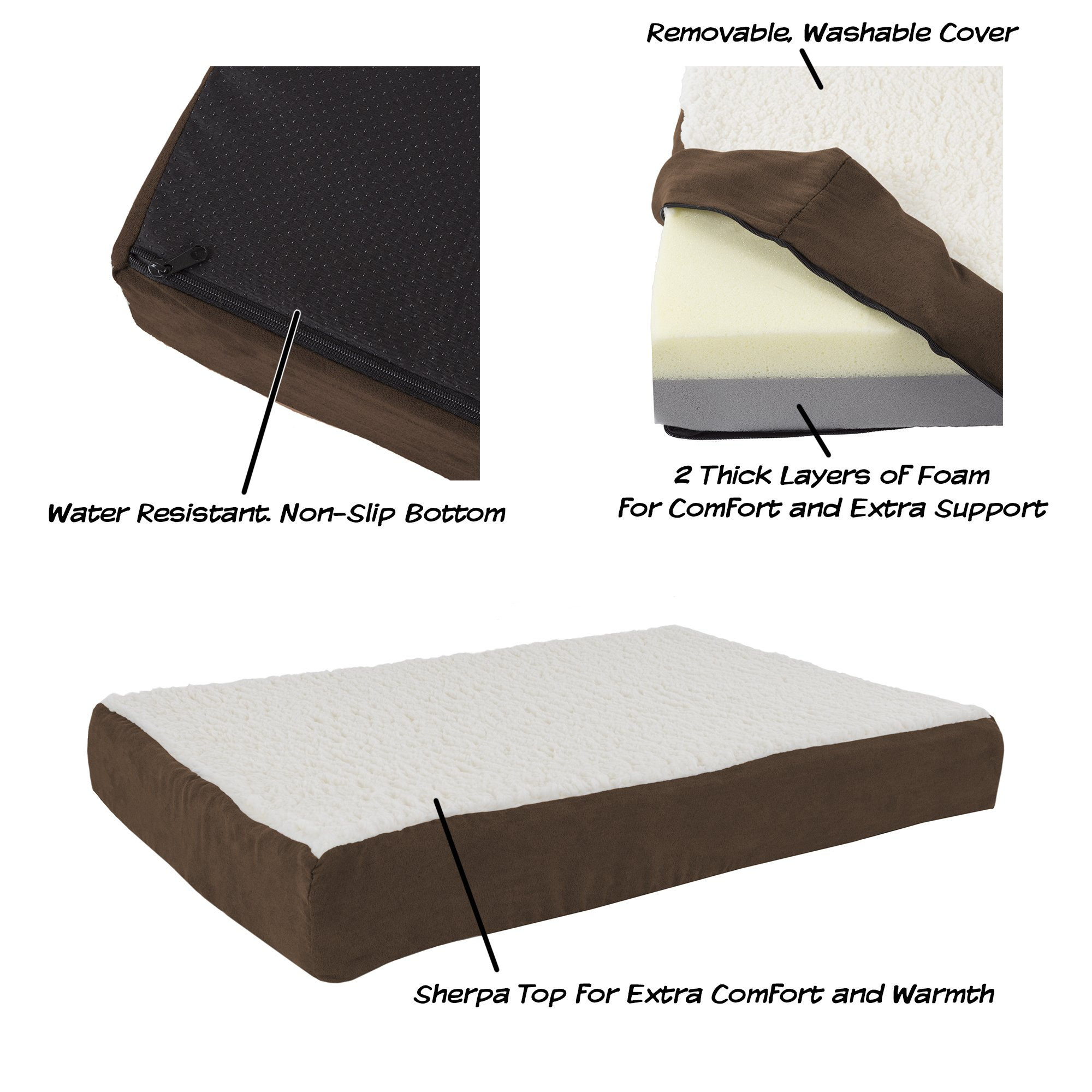petmaker orthopedic sherpa top pet bed with memory foam and removable cover 886511993068 ebay. Black Bedroom Furniture Sets. Home Design Ideas