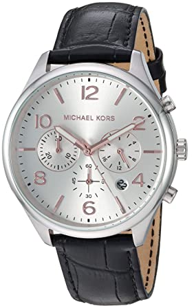 8a65a1a4bdeb Michael Kors Men s Merrick Stainless Steel Analog-Quartz Watch with Leather  Strap