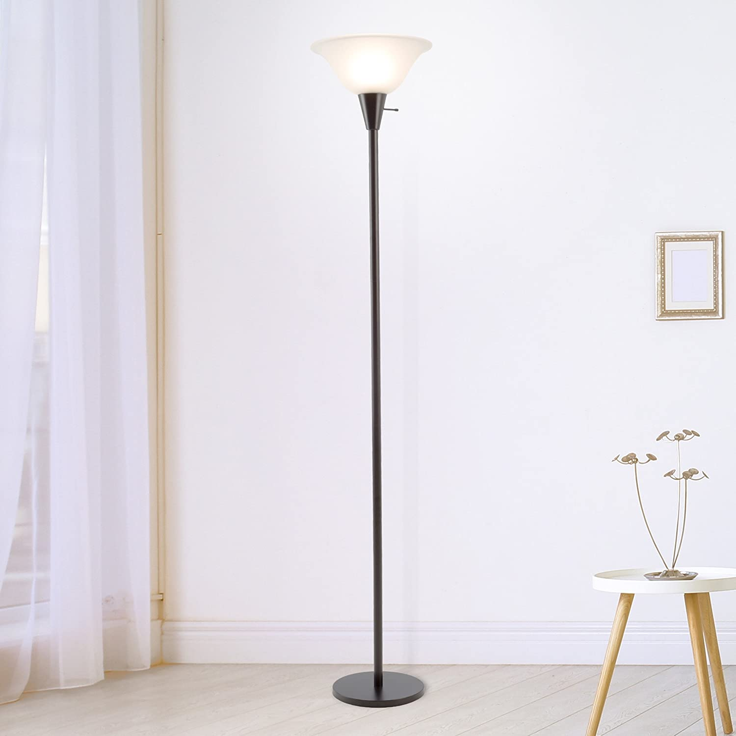 Lavish Home 72 Torch 1 Torchiere Floor Lamp Standing Light With Sturdy Metal Base And Frosted Glass Shade Energy Saving Led Bulb Included Black Furniture Decor