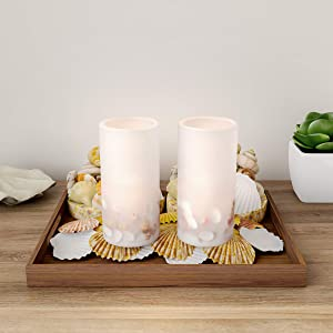 Lavish Home LED Seashell Candles with Remote Control-Set of 2 Nautical Realistic Flameless Color Changing Pillar Lights-Ambient Coastal Home Décor