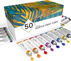GenCrafts Acrylic Paint Set - Set of 50 Premium Vibrant Colors - (22 ml, 0.74 oz.) - Quality Non Toxic Pigment Paints for Canvas, Fabric, Wood, Crafts, and More - for All Artists: Adults and Kids