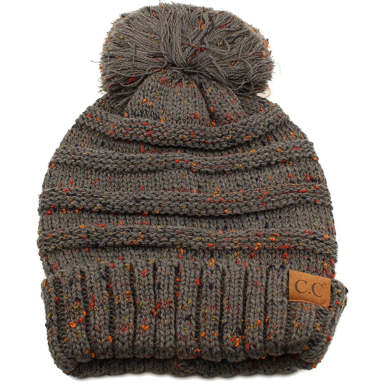 00ee7bb8910ba Oversized Super Big Slouchy Pom Pom Warm Chunky Stretchy Knit Beanie Hat  Dk. Gray at Amazon Women s Clothing store