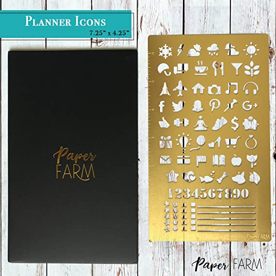 METAL BULLET JOURNAL STENCIL SET 2 Pack W Etched 6 Inch Ruler