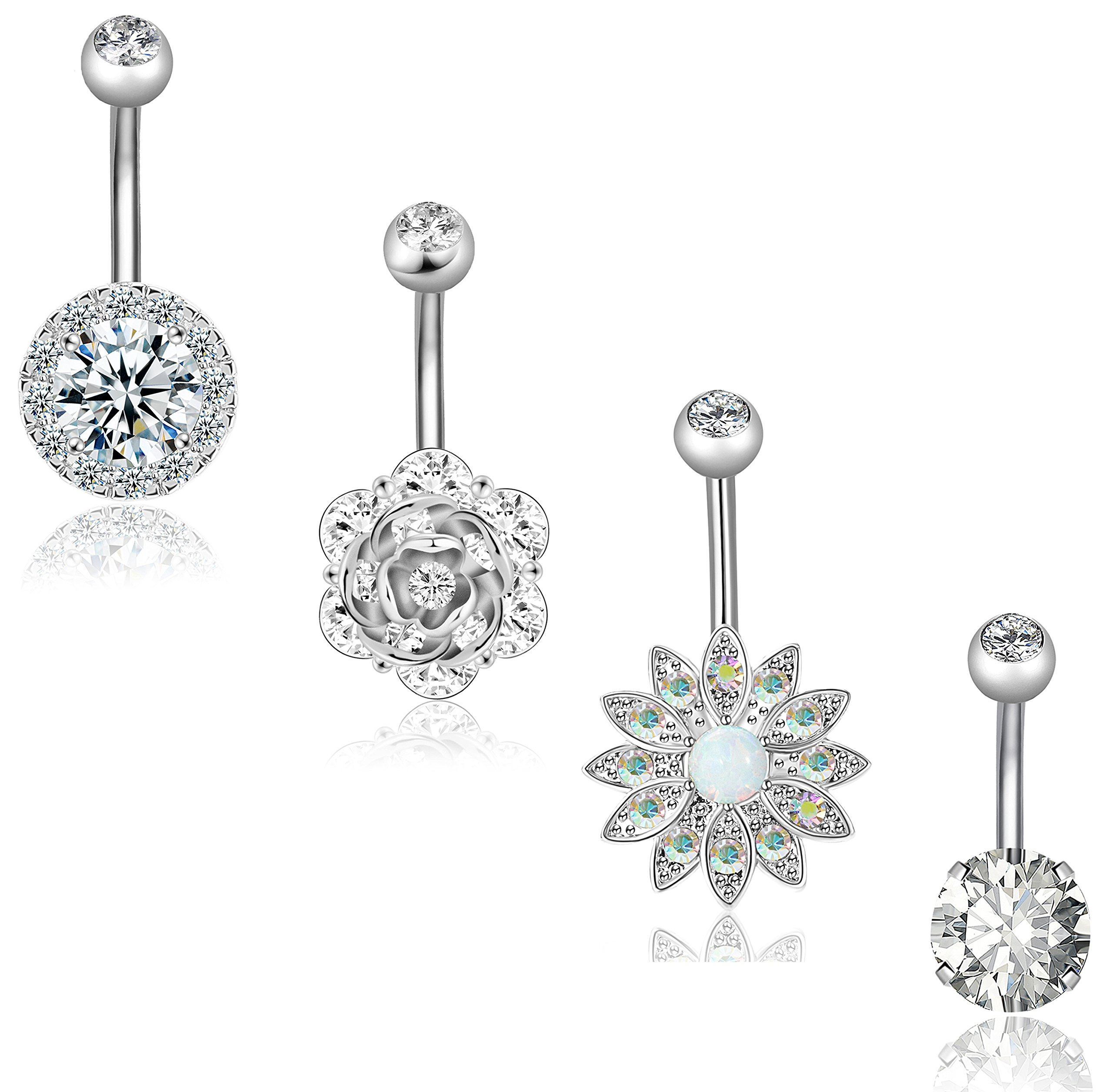 REVOLIA 4Pcs 14G Stainless Steel Belly Button Rings for Women Girls Navel Rings CZ Body Piercing Jewelry