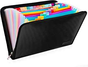 ENGPOW Expanding File Folder, Fireproof File Organizer with 25 Colored Pockets,Labels,Zipper Closure,Fireproof and Water Resistant Safe Storage for Letter A4 Size Paper,Document,Paperwork