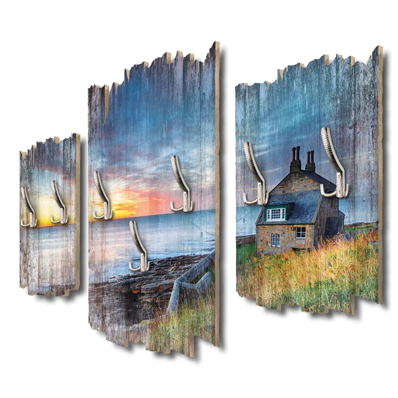 Kreative Feder Haus am Meer Designer Wandgarderobe Flurgarderobe Wandpaneele 95 x 60 cm aus MDF-Holz DTGH012