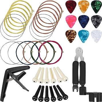 Jetec - Juego de 26 piezas de cuerdas de guitarra para cambiar de ...