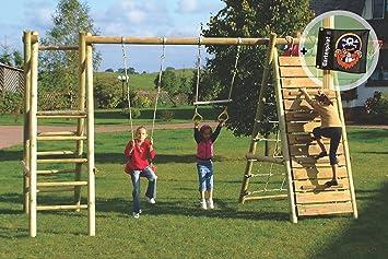 Hervorragend Klettergerüst aus Holz mit Netz und Schaukel - Spielanlage von  WX11