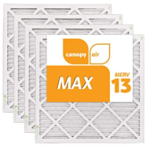 "Canopy Air 20x20x1 MERV 13 19 1/2"" x 19 1/2"" x 3/4"", 4-Pack MAX Allergen Protection Air Filter for a Healthy Home, Made in The USA"