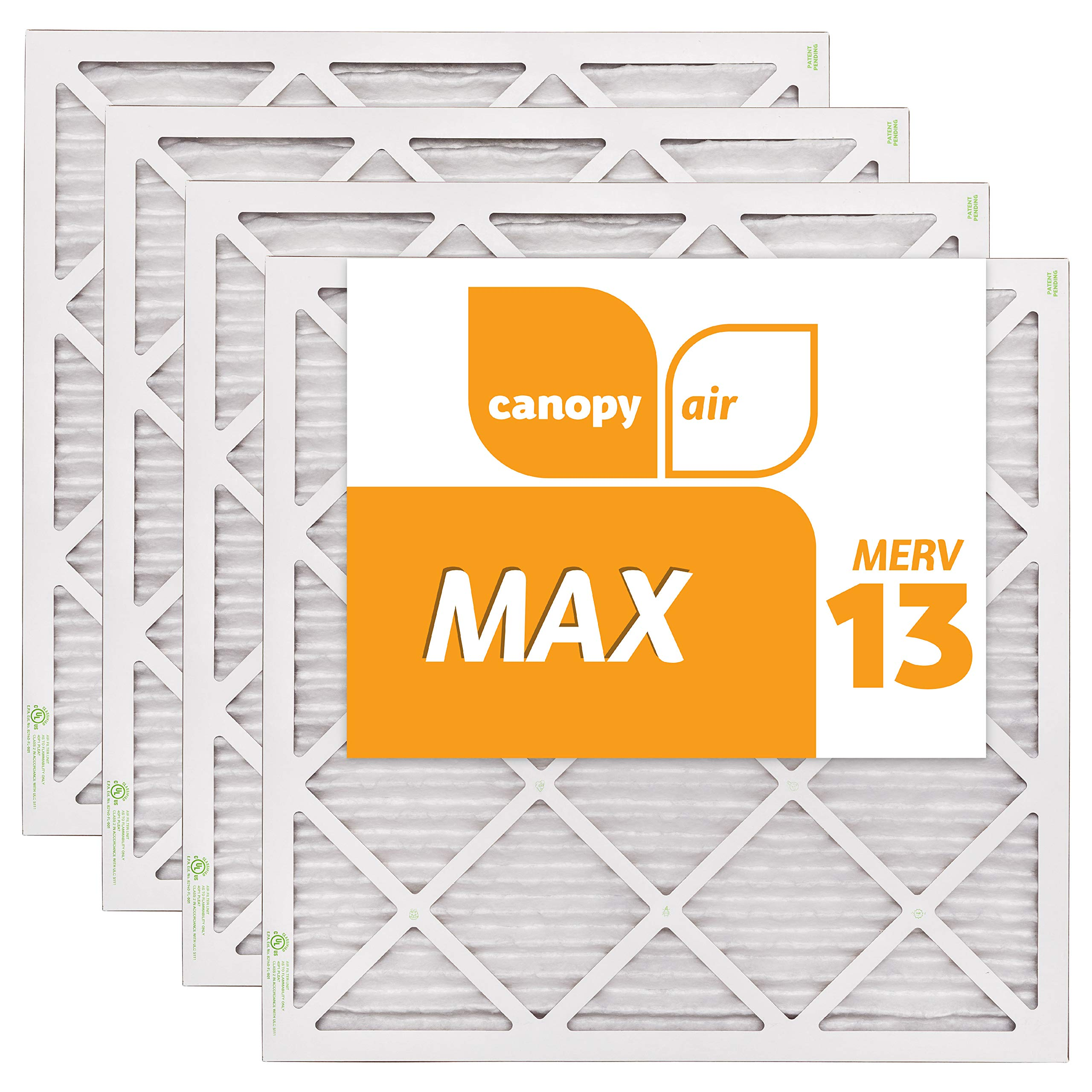 Canopy Air 20x20x1, MAX AC Furnace Air Filter, MERV 13, Made in the USA, 4-Pack (Actual Size 19 1/2'' x 19 1/2'' x 3/4'')
