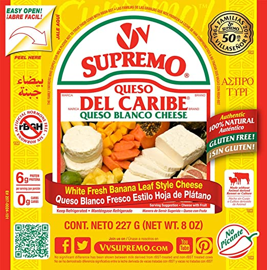 V&V Supremo, Queso Del Caribe Queso Blanco Cheese, 8 oz