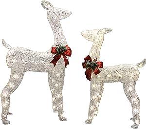 Joiedomi 2 Packs Christmas Reindeers, Doe, Fawn LED Yard Lights for Christmas Outdoor Yard Garden Decorations, Christmas Event Decoration, Christmas Eve Night Decor