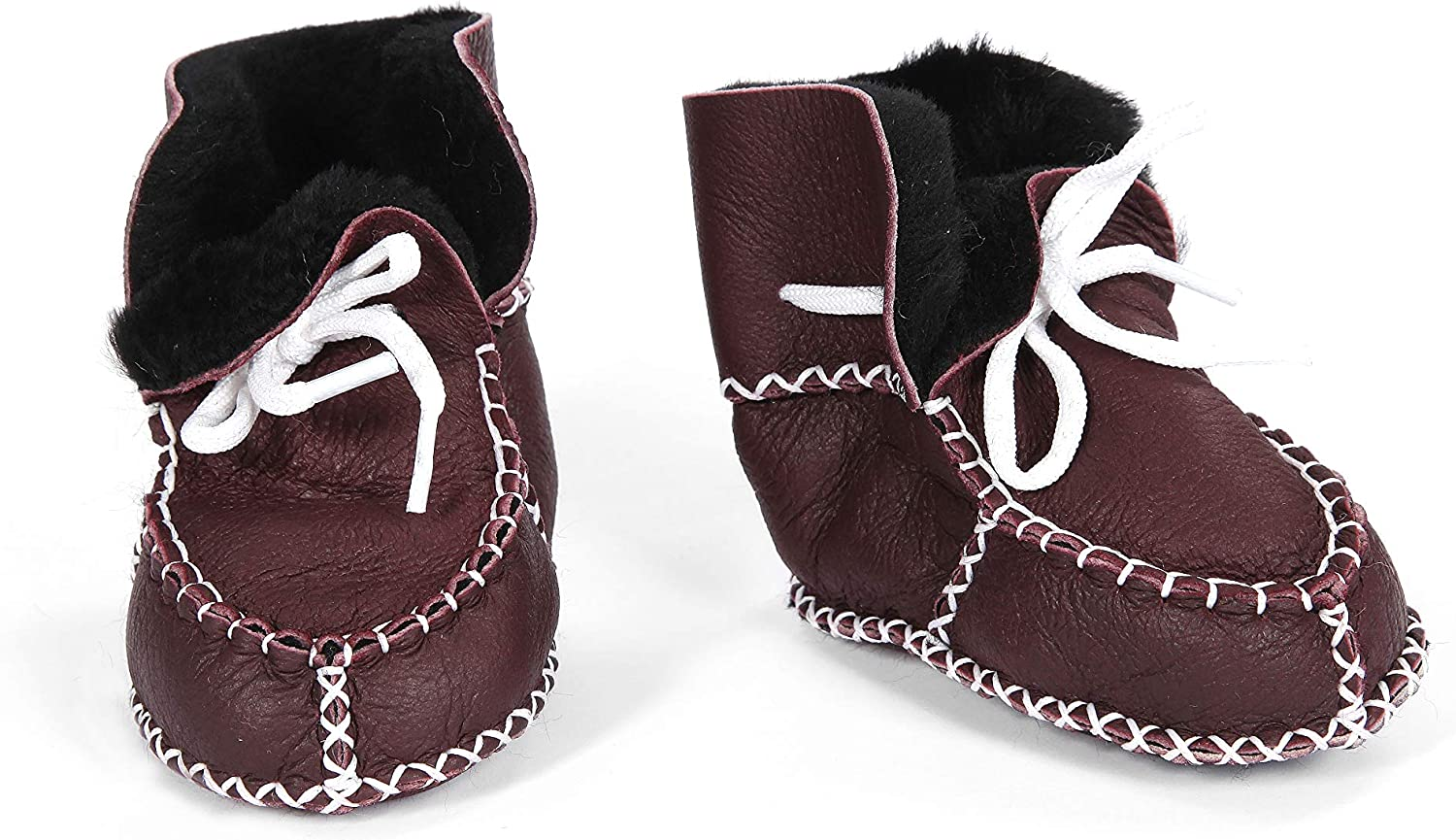 Shawnee Leather-Shearling Organic Baby Indoor Soft Sole Shoes Booties