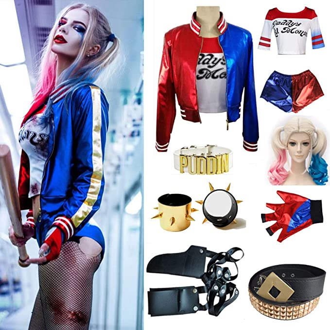 c20c426bb015 Image Unavailable. Image not available for. Colour: Adult Cosplay Harley  Quinn Ladies Costume Full Set Halloween Suicide Squad Costume