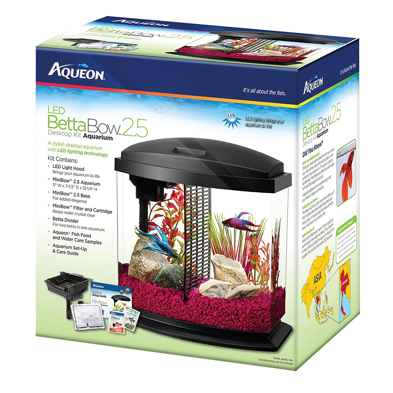 Amazon Aqueon Betta Bow LED Fish Aquarium Kit Pet Supplies