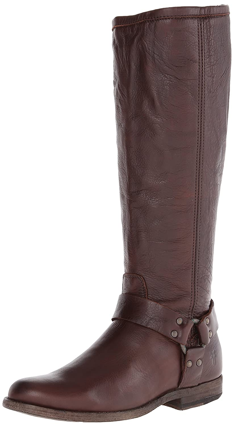 FRYE Women's Phillip Harness Tall Wide-Calf Boot B00B1YV7C4 6 B(M) US|Dark Brown Soft Vintage Leather Wide Calf-76850