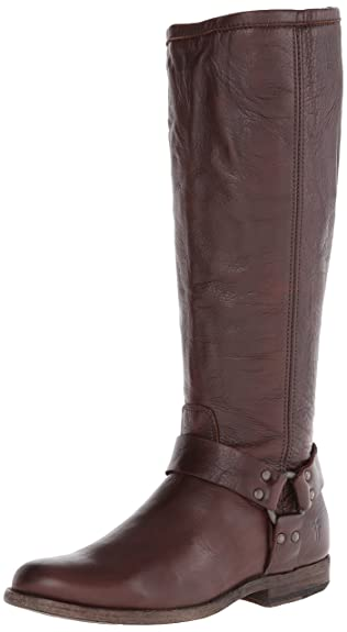 FRYE Women's Phillip Harness Tall Boot: Wide Calf, Dark Brown Soft Vintage  Leather Wide