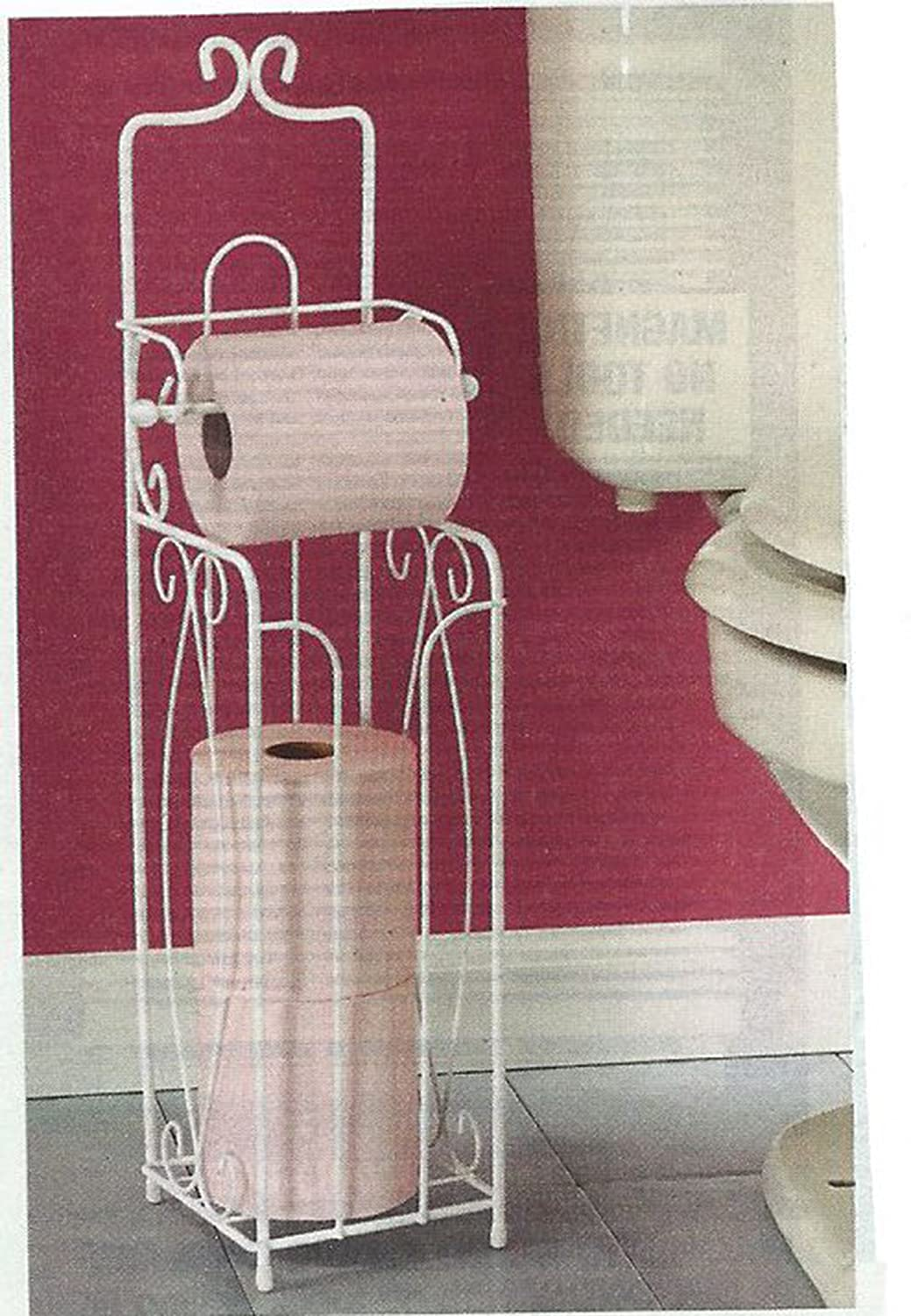 "24"" Decorative Scroll Metal Free Standing Toilet Tissue Holder - White (Holds 4 Rolls!)"