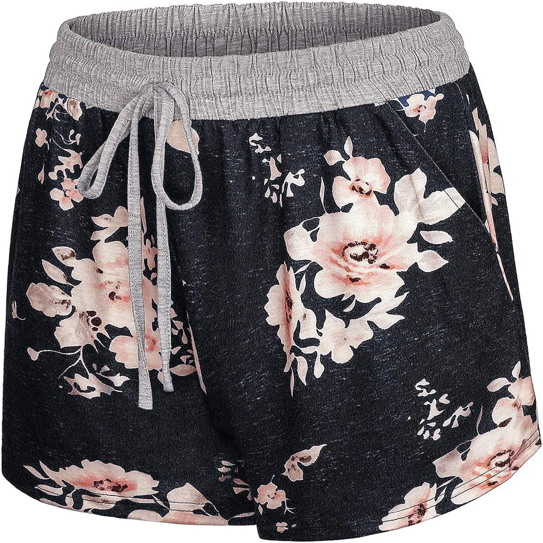 Blevonh Womens Cute Elastic Waist Drawstring Yoga Running Shorts with Pockets