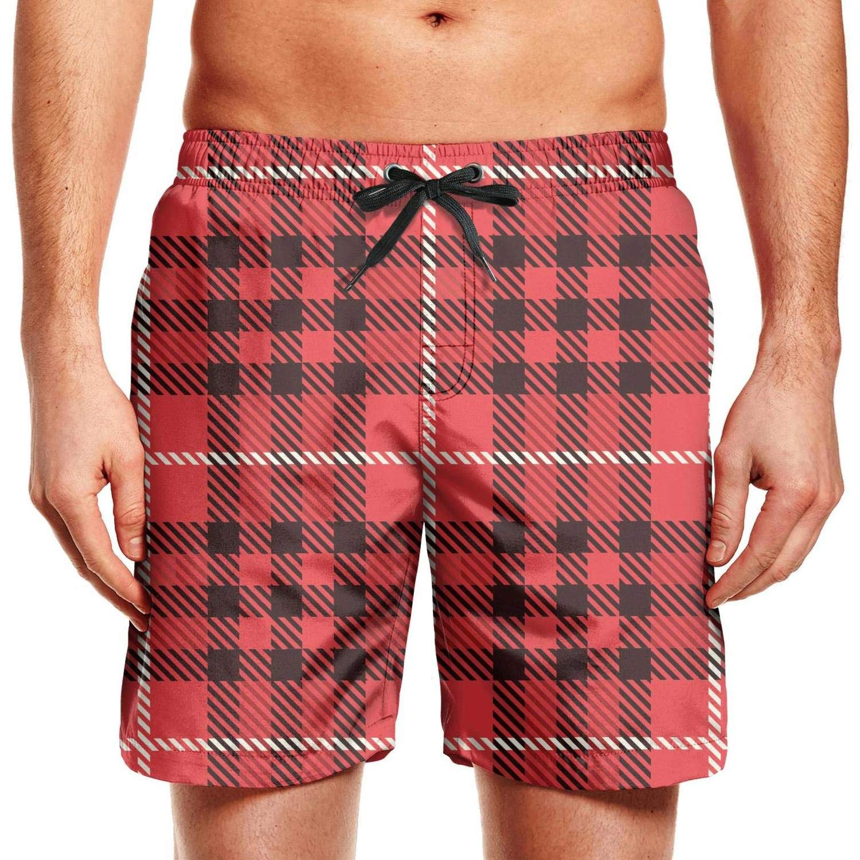 CCBING Mens Red British Plaid Black Mosaic Checkerboard Fashion Drawstring Swim Trunks