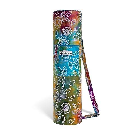 Bliss Peak Batik Yoga Bag Handmade in India, Adjustable Shoulder Strap, Plus Outer and Inner Pockets.