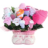 Baby Girl Bouquet Made Out Of Baby Clothes And Accessories, Baby Planter - Makes A Unique And Practical New Baby Gift - Creative Baby Shower Decoration Or Centerpiece