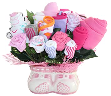 3554a479e Amazon.com   Baby Girl Bouquet Made Out Of Baby Clothes And ...