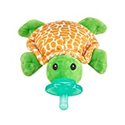 Nookums Paci-Plushies Turtle Shakies - Pacifier Holder and Rattle (2 in 1) (Plush Toy Includes Detachable Pacifier, Use with Multiple Brand Name Pacifiers)
