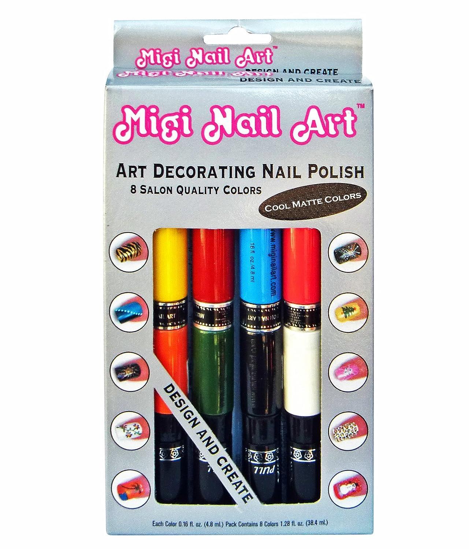 Amazon.com : Migi Nail Art Nail Polish and Pen Duo, Matte Color Set ...